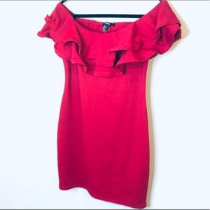 Forever 21 Red Off the Shoulder Ruffle Top Dress